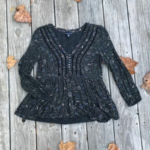 AEO floral long-sleeve blouse